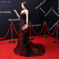 2018 New Arrival Latest Design Red Burgundy Prom Dress With Black Tulle And High Quality Applique