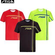 Nowy przyjazd Stiga tenis stołowy Odzież Sportswear szybkie suche Krótki rękaw mężczyźni kobiety ping pong shirt Badminton Sport koszulki tanie tanio Mężczyzn Pasuje do rozmiaru Weź swój normalny rozmiar Jako