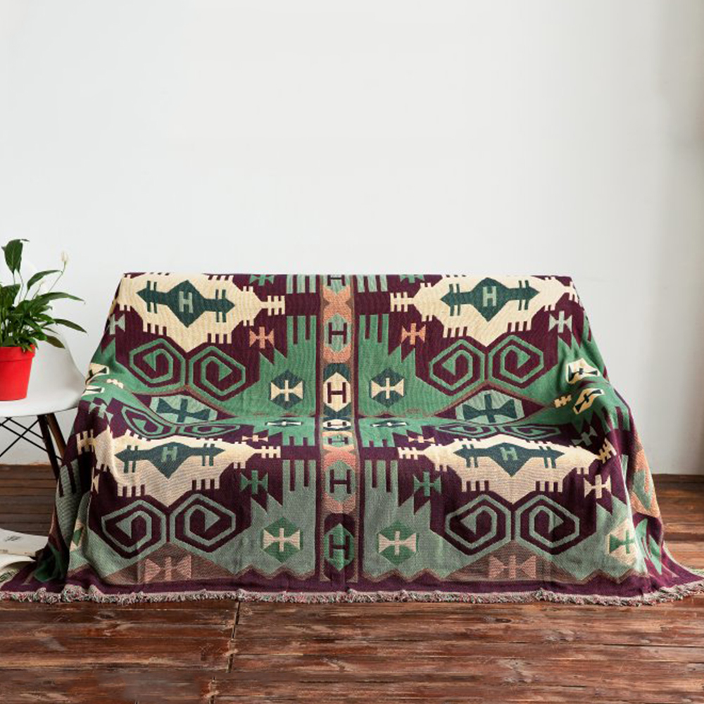 Yazi Bohemia Style Green Geometric Two Sided 100% Cotton Thread Blanket Sofa  Chair Bed Lid Carpet Throw Tapestry Home Decoration