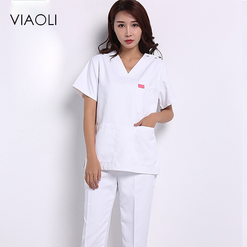 Viaoli 2018 Summer Short-sleeved Surgical Clothing Men And Women Doctors Suits Split Brush Suit White Suit