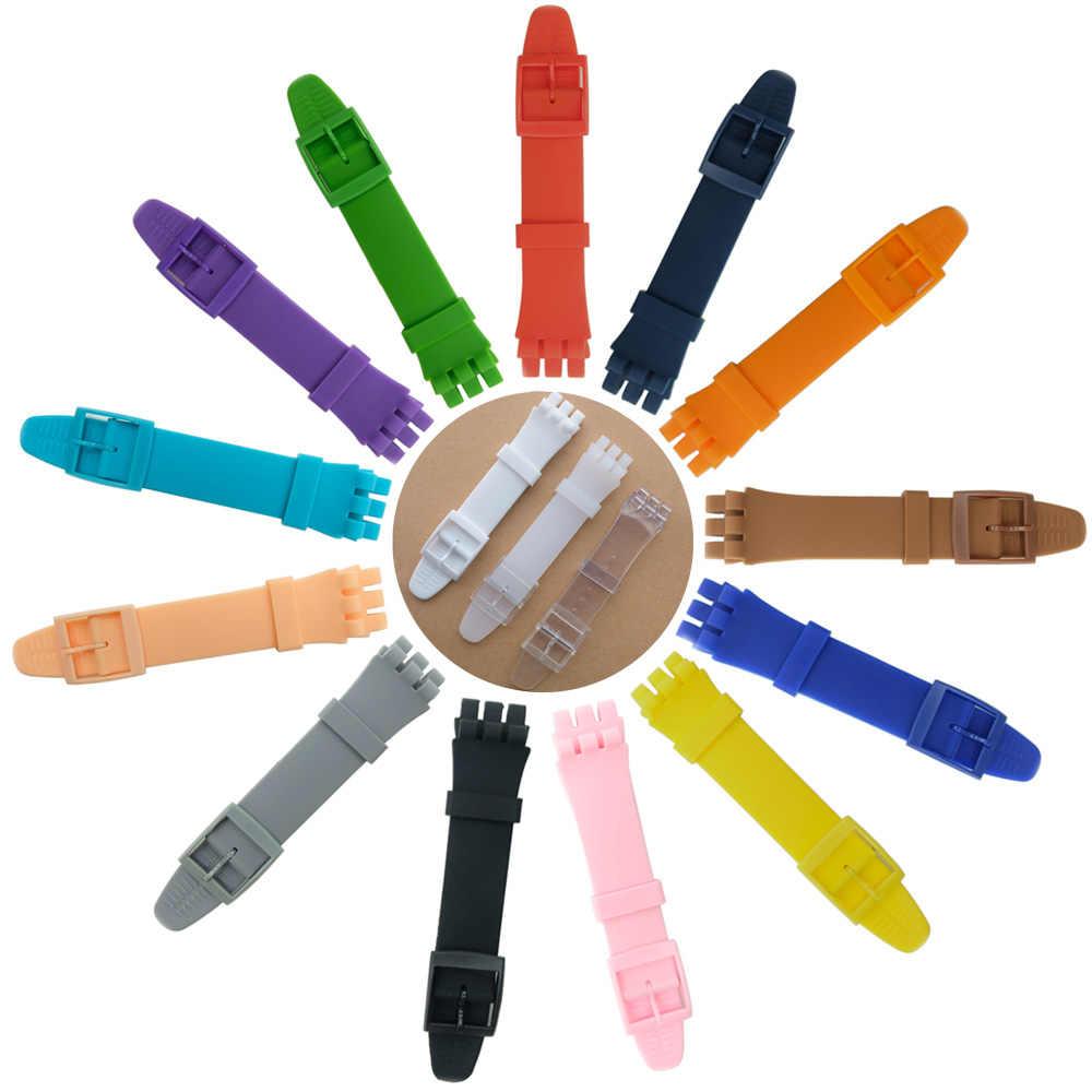 """16 מ""""מ 17 מ""""מ 19 מ""""מ 20 מ""""מ סיליקון רצועת עבור דוגמית בצבע גומי רצועת שעון אביזרי מחט אבזם שעון להקה"""