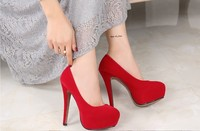 14 cm/11cm No lace up suede fashion banquet high heels shoes yards 5 13 black red