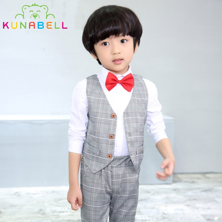 Brand Baby Boys Birthday Dress Formal Suit Clothes Sets Shirt Vest Pants Plaid Gentleman Kids Children Costumes Clothes F15 new arrival baby boy clothes sets plaid gentleman suit infant toddler boys vest pants children kids clothing set outfits 2 8 age