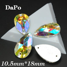 140pcs/box 10.5x18mm Teardrop Sew On rhinestone Crystal Clear AB Color High-grade  2Holes For clothing accessories SF0354