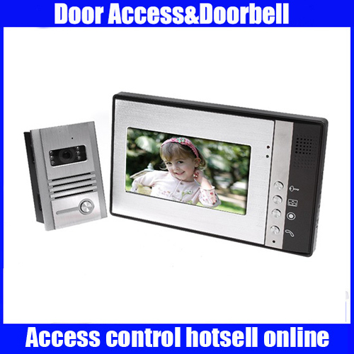 7 Inch Video Door Phone Doorbell Intercom Kit 1-camera 1-monitor Night Vision 7 inch color tft video door phone doorbell intercom kit 2 camera 1 monitor night vision electric lock control mfbs