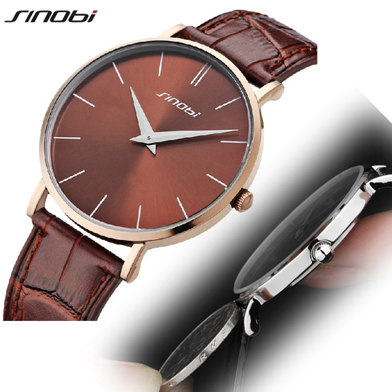 SINOBI Brands Luxury Fashion Mens Watches Slim Genuine Leather Strap Quartz Analog Military Male Wrist Watches Man Clock L12 sinobi high quality watches mens leather quartz watch luxury brands males rose gold steel casual wristwatch gents clock hours