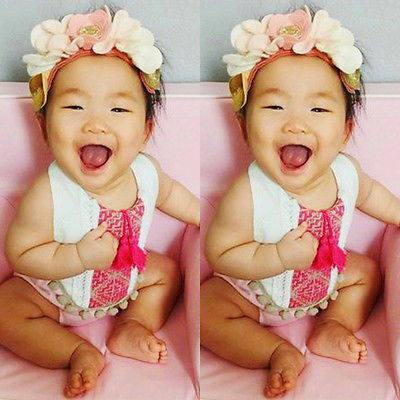 Baby Embroidery Boys Girls Floral Romper Jumpsuit Outfit Clothes 0-24 M
