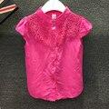 2017 verão novo estilo meninas lace-camisa de manga curta crianças kids clothing moda belo curta-mangas compridas camisas