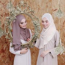 Женский жемчужный шифон сплошной цвет мусульманский головной платок шали и обертывания пашмины бандана женский платок морщинка хиджаб магазины