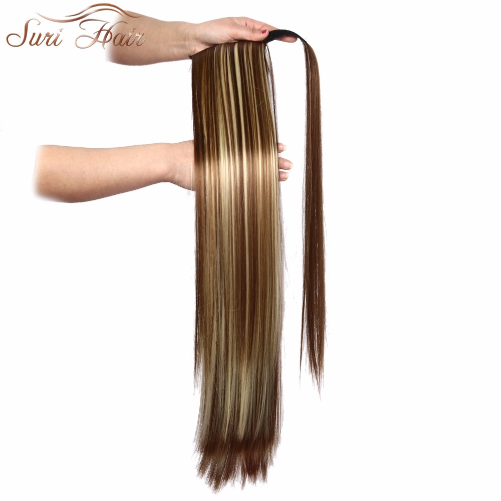 HTB13XkWfKGSBuNjSspbq6AiipXa8 - Suri Hair 24'' Long Silky Straight Ponytails Clip In Synthetic Pony Tail Heat Resistant Fake Hair Extension wrap round hairpiece