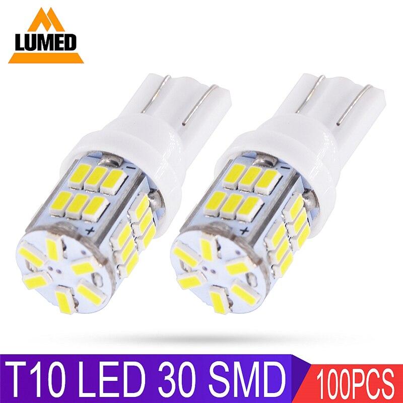 100x T10 LED W5W Car light Bulb 30 LED Para Auto Interior Side light 3014 SMD