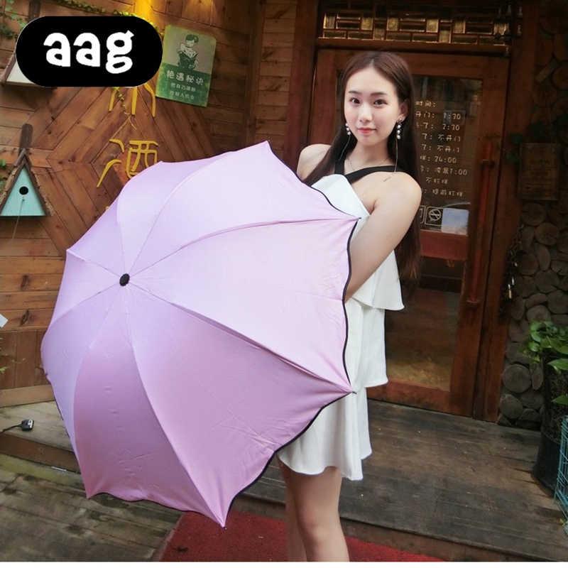 AAG большой складной женский зонт от дождя волшебный цветок ультрафиолет-Защита от солнца купол ветрозащитные Зонты солнцезащитный модный зонт