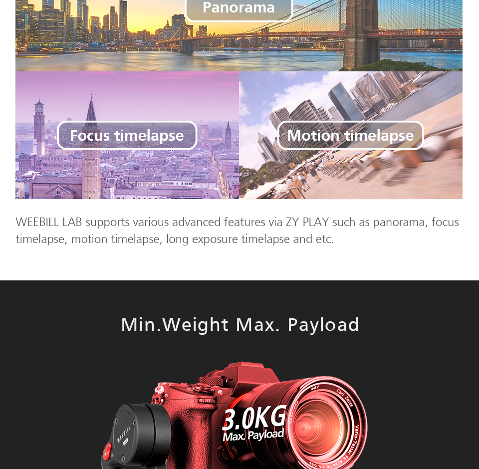 Zhiyun WEEBILL LAB 3-Axis OLED Display Stabilizer For Sony Panasonic GH5s Mirrorless Camera Handheld Gimbal With Focus Control 12