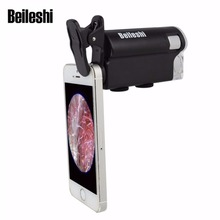 Beileshi 60x-100x Zoom Microscope Magnifier LED + Uv Light Clip-on Micro Lens for Universal Mobile Phones Universal Clamp