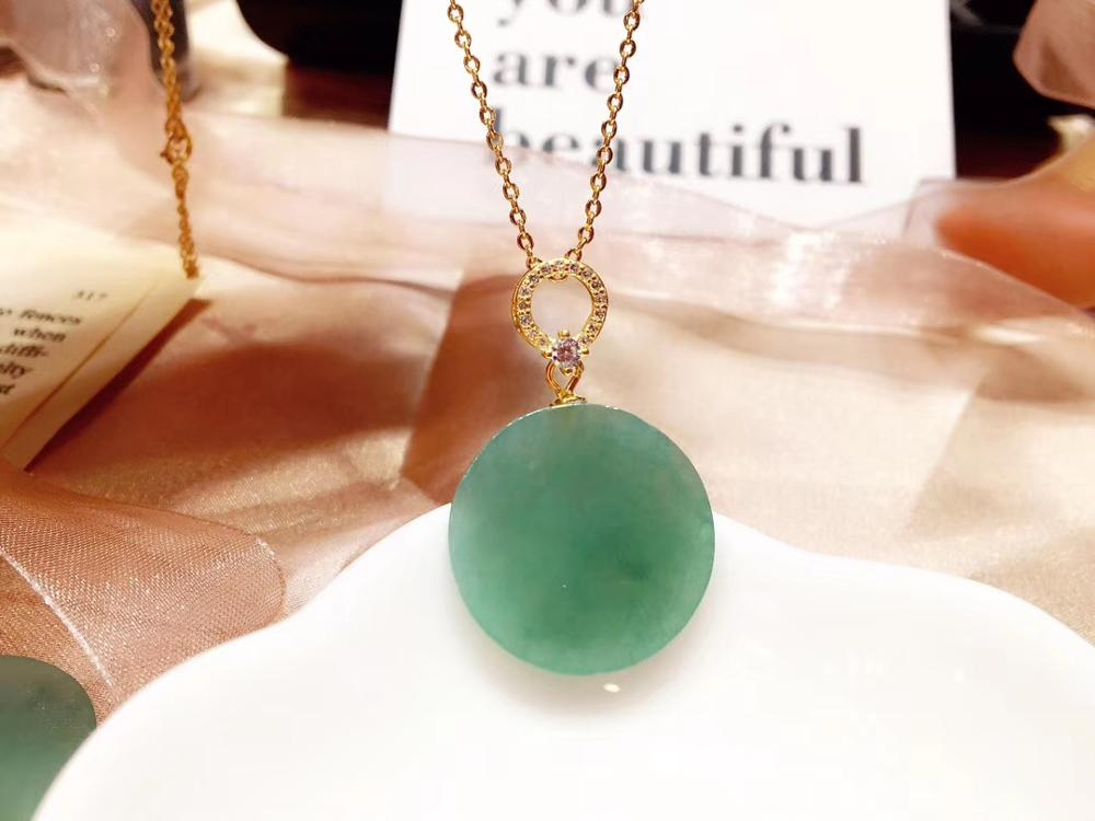 Genuine Natural Green Jade Gemstone Pendant Women Man Lucky 18mm Round Stone Necklace Pendant AAAA Certificate