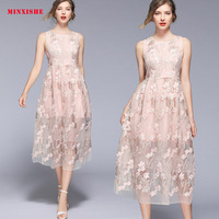 Summer Women Dress 2019 Sexy Vintage Bodycon Elegant Retro Mesh embroidery Midi Maxi Floral Casual party night Long Pink Dress