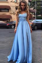 Sky Blue Prom Dresses Strapless Sweetheart Elastic Satin High Split Lace Appliques Evening Gowns Long Vestido De Formatura Longo