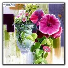 Mooncresin diy алмазная живопись крест Стит розовые цветы полная