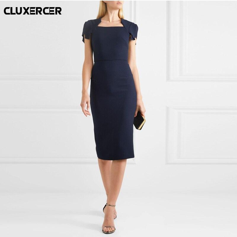 Summer pencil dresses for women Zipper Back Formal Stretch Pencil work Bodycon office Layd Dress vestido