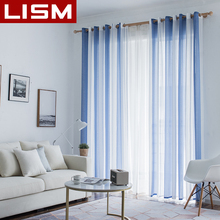 LISM Simplicity Striped Linen Tulle Curtains For Living Room Bedroom Kitchen Modern Window Voile Sheer