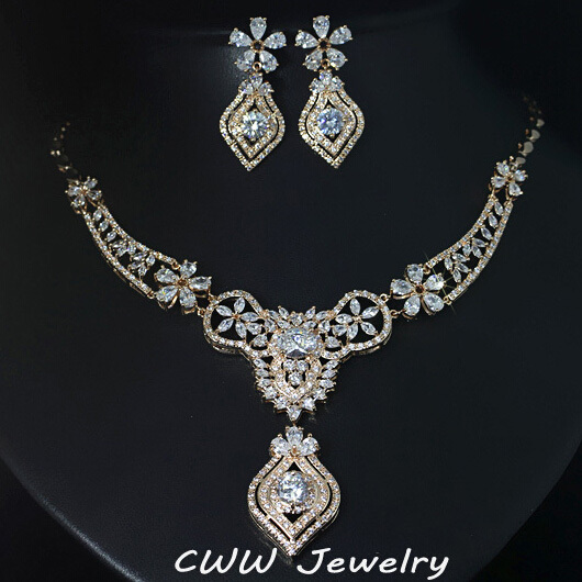 CWWZircons Luxurious Flower Shape Big Indian Gold Color Dazzling Cubic Zircon Bridal Wedding Jewelry Set For Women T189 chic flower shape embellished bright color felt cloche hat for women