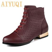 Купить с кэшбэком AIYUQI Women's sandals 2019 new genuine leather mesh sandals women, fashion breathable red large size 41 42 43 shoes women