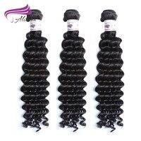 Alimina الهندي موجة عميقة الإنسان ينسج 3/4 قطع حزم الشعر ريمي الشعر اللون الطبيعي الشحن مجانا