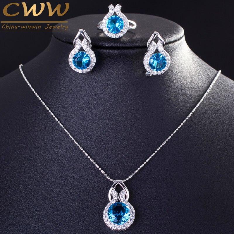 CWWZircons Marque 925 Bijoux En Argent Sterling De Mode Bleu Clair CZ Cristal Collier Boucle D'oreille Et Bague Sertie Pour Femmes T200
