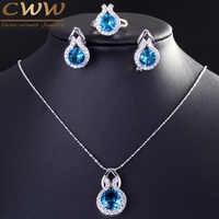 CWWZircons marque 925 bijoux en argent Sterling mode bleu clair CZ cristal collier boucle d'oreille et bague ensemble pour les femmes T200