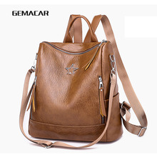 Fashion Pop Lady Shoulder Bag Soft Pu Leather Medium Female Casual Backpack Student Out Daily Use Girl Dating