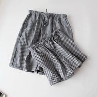 Women's Sleep Pants Double layer cotton yarn shorts pants Plaid Men And Women Couple Lounge Pants Long Sleep Bottoms