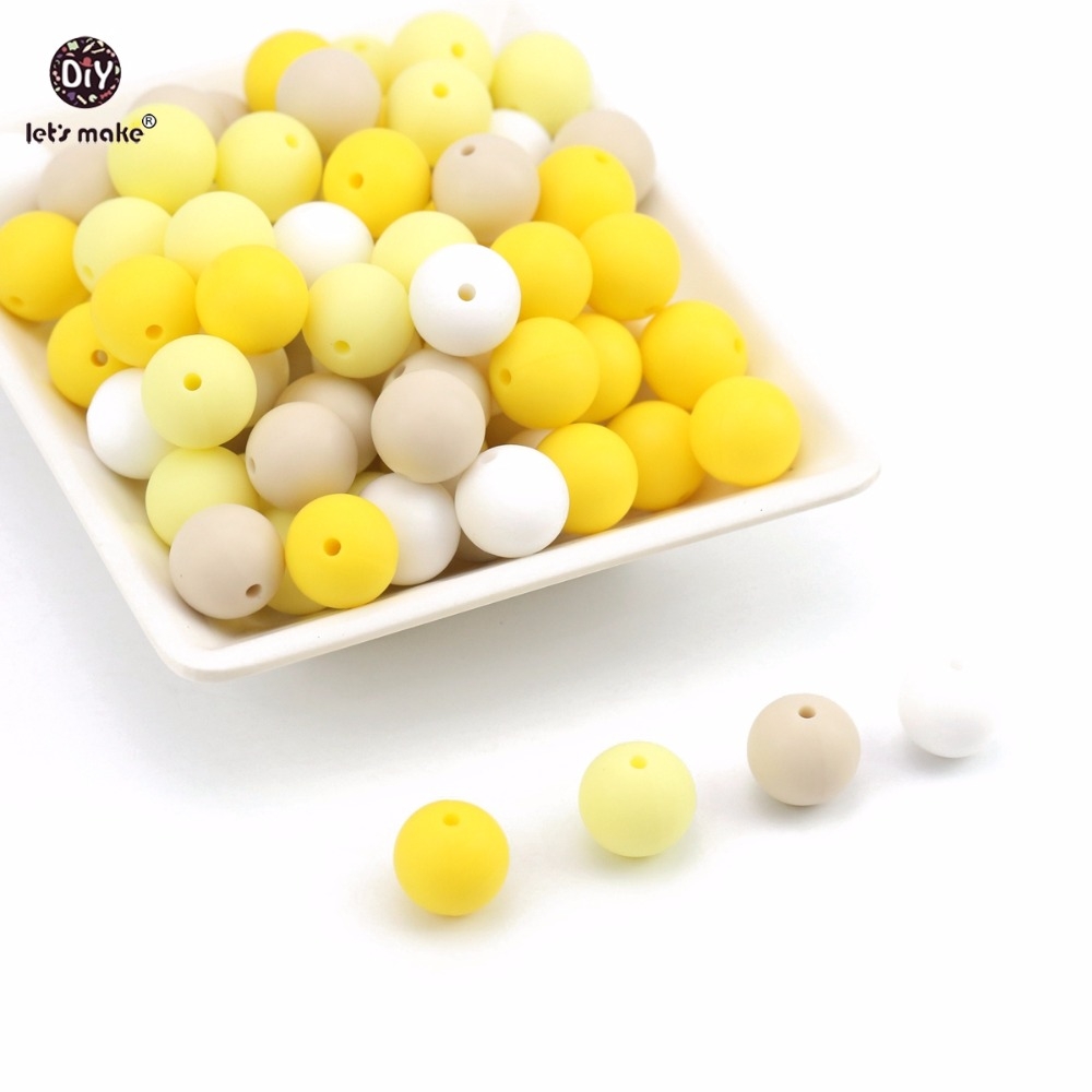 Lets make Silicone Beads Yellow Series 15mm 10pc DIY Accessories Chewable Beads Food Grade Teething Nursing Baby Teether