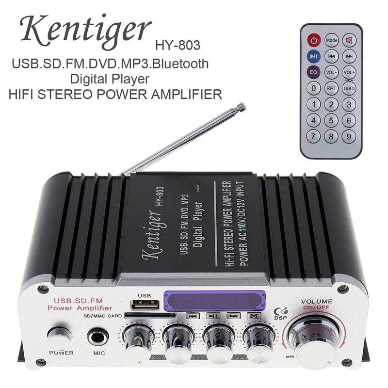 HY-803 2CH HI-FI Bluetooth Car Audio Amplificatore di Potenza Radio FM del Giocatore di Sostegno SD USB DVD MP3 di Ingresso per Auto Moto casa