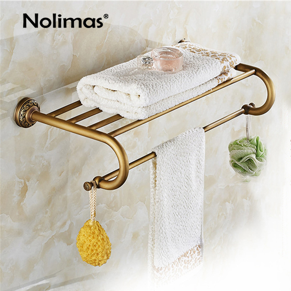 Bathroom Copper Towel Bar Antique Brass Toilet Towel Holder Towel Rack Shelf Solid Holder Brief Fixed Bathroom Accessory nail free foldable antique brass bath towel rack active bathroom towel holder double towel shelf with hooks bathroom accessories