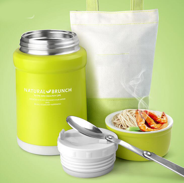 L Hot Food rice box Container 304 Stainless Steel Insulated Thermal Lunch Box for Food Green Food Thermos