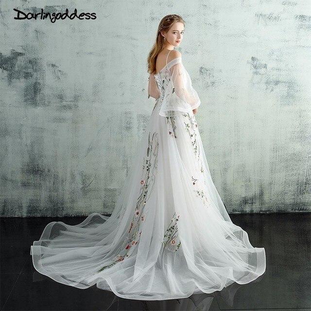 Darlingoddess Vestido De Noiva Spaghetti Strap Beach Wedding Dresses