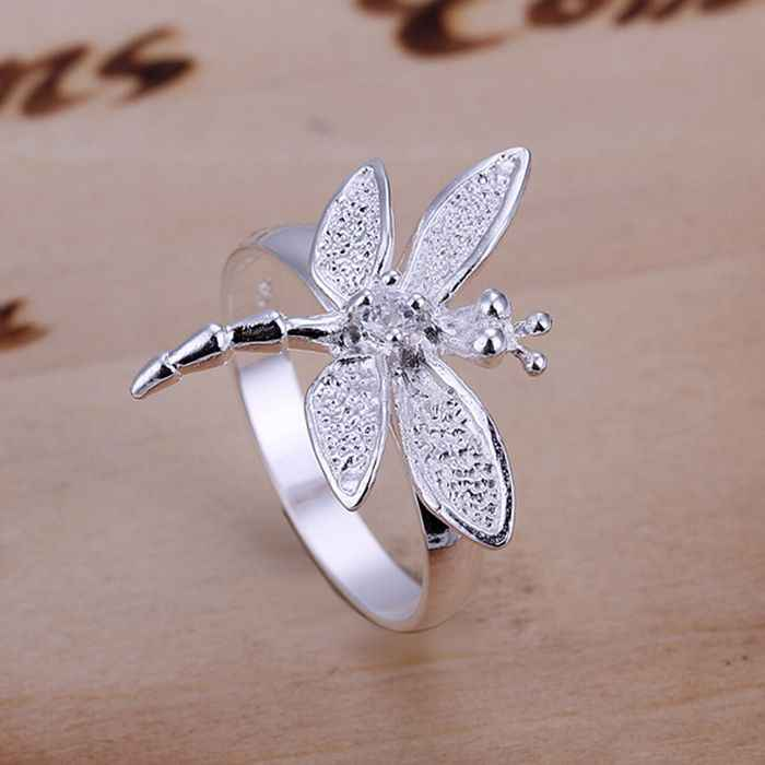 925 jewelry silver plated  Ring Fine Fashion Zircon Dragonfly Silver Jewelry Ring Women&Men Gift Finger Rings SMTR017