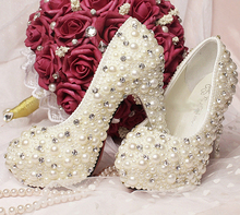 Nice Handmade Wedding Bridal Dress Shoes Imitation Pearl Rhinestone wedding Bridal shoes Bride Wedding Dress Shoes