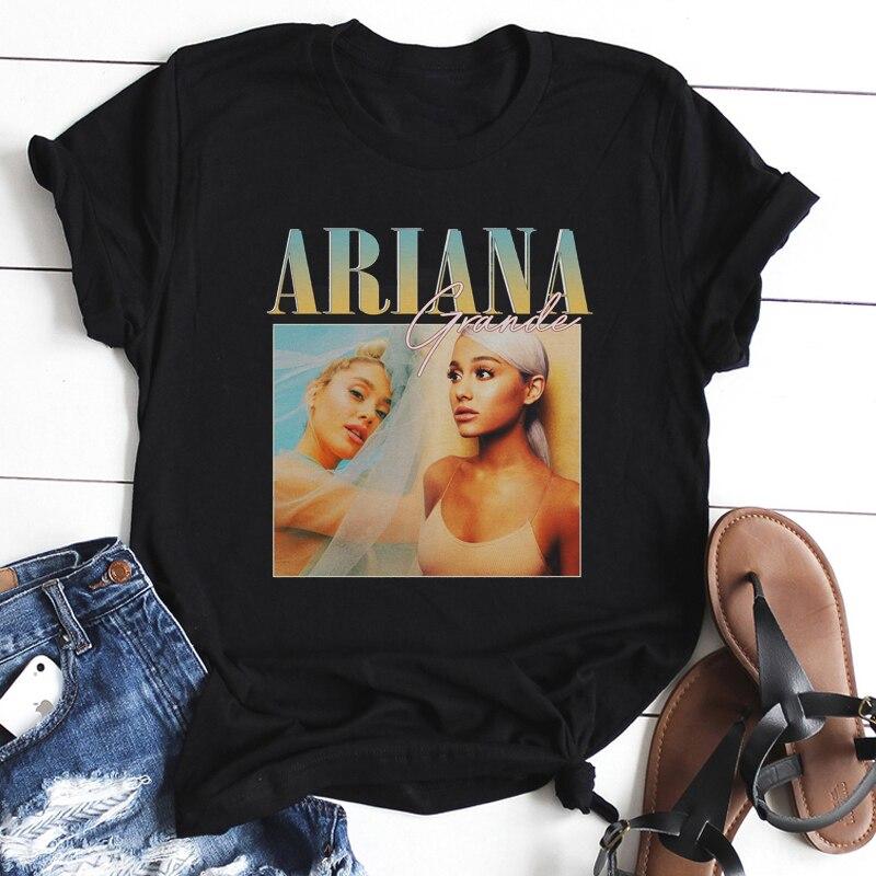 Super Star Women Black T Shirt Cotton O-Neck Kpops Ariana Grande Print Casual Short Sleeve Harajuku Women's T-Shirt Tee Shirt