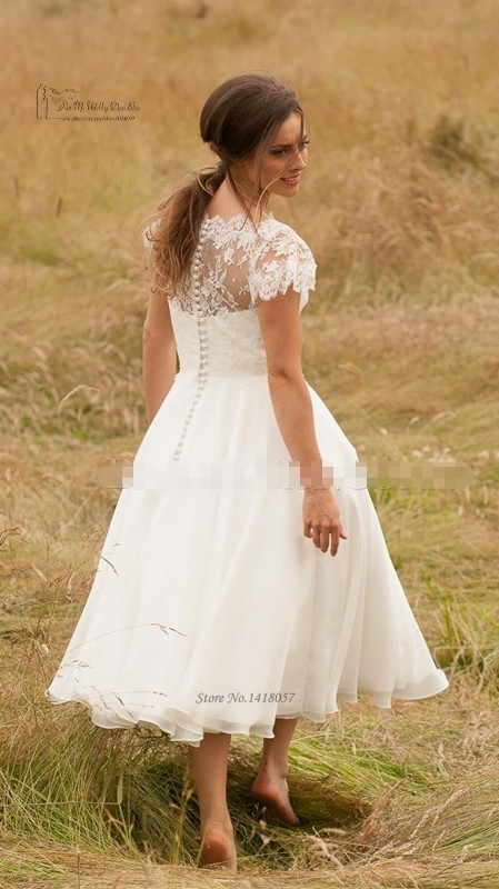 Country Western Lace Tea Length Wedding Dress 2016 Cap Sleeve Short Bride  Dresses Wedding Gowns Vestido de Noiva Curto. H3468 (2) H3468 (3) ... 28d533ddd447