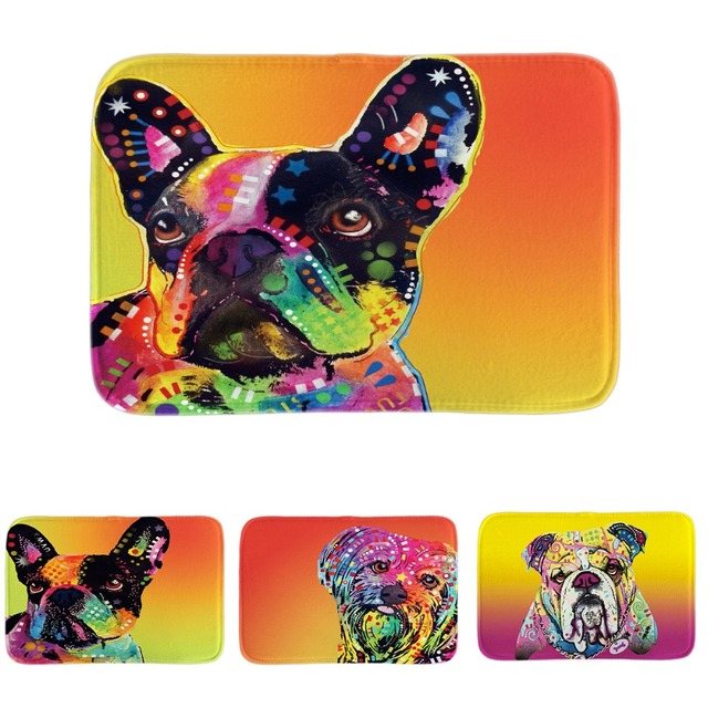 Cute Bull Terrier Series Door Mats Pet Dog French Bulldog Floor Mats Soft  Lightness Indoor Outdoor