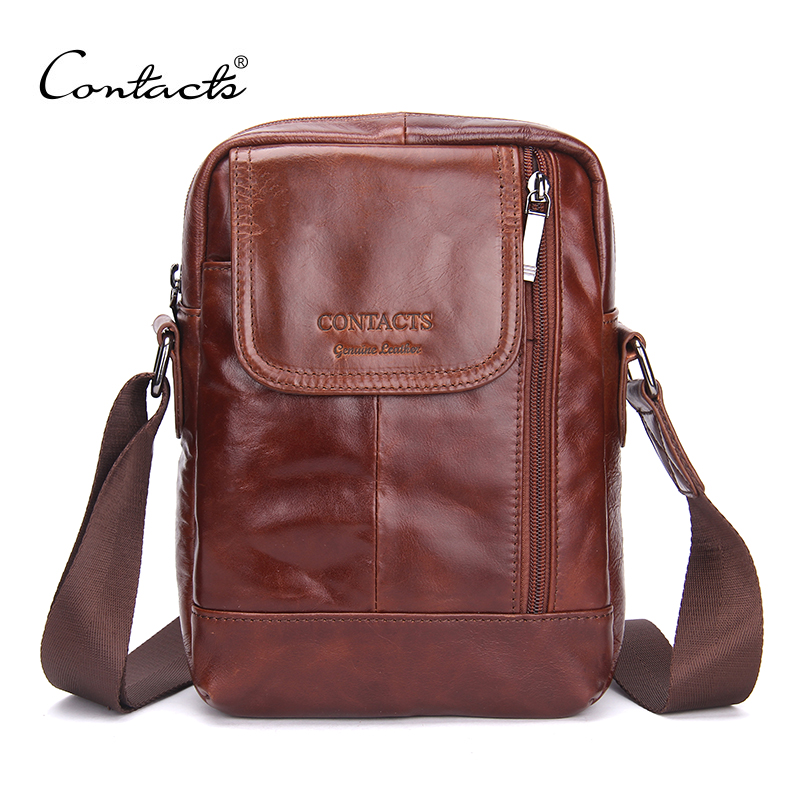 ФОТО CONTACT'S Fashion Genuine Leather Messenger Bags Zipper Design High Quality Small Male Bags Brown Solid Trunk Casual Travel Bags