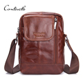 CONTACT'S Fashion Genuine Leather Messenger Bags Zipper Design High Quality Small Male Bags Brown Solid Trunk Casual Travel Bags