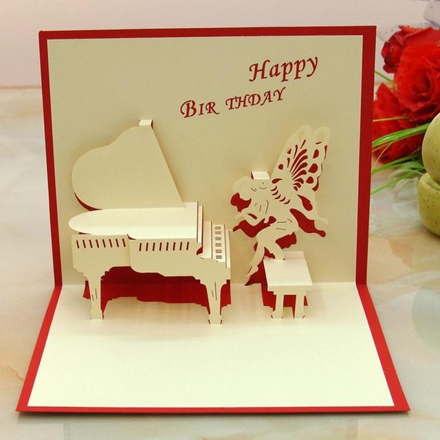 10pcs piano angle 3d folding pop birthday card girl boy birthday – Birthday Greeting Cards for Boys