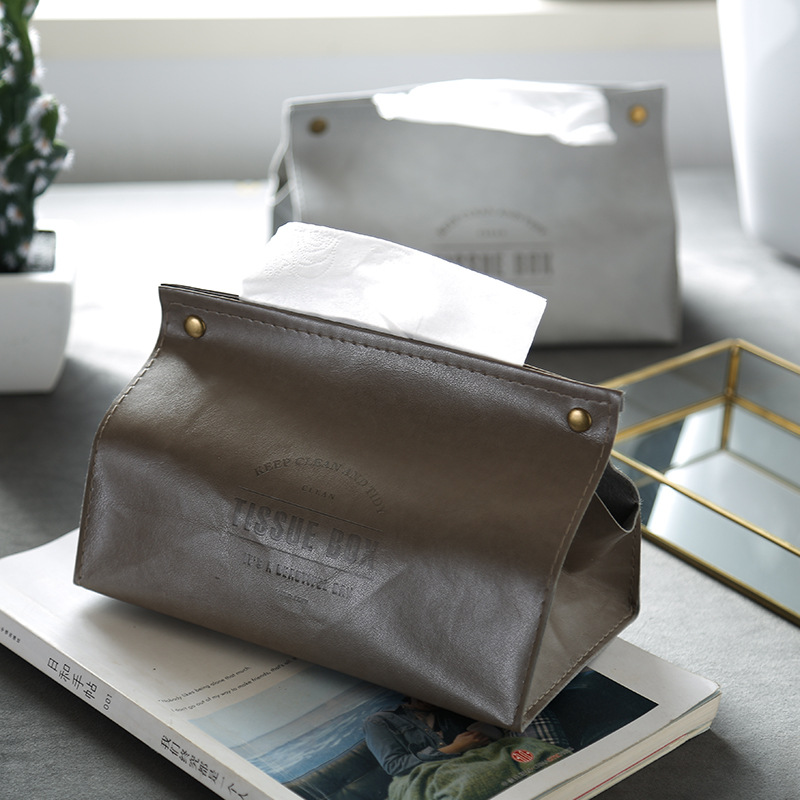 Portable Tissue Box Case Kitchen PU Leather Paper Dispenser Holder Car Paper Container Decoration Nordic Style Office Storage