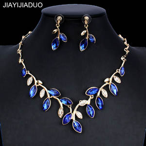 Wedding-Jewelry-Set Dress-Accessories Necklace Gold-Color Jiayijiaduo Women's Crystal