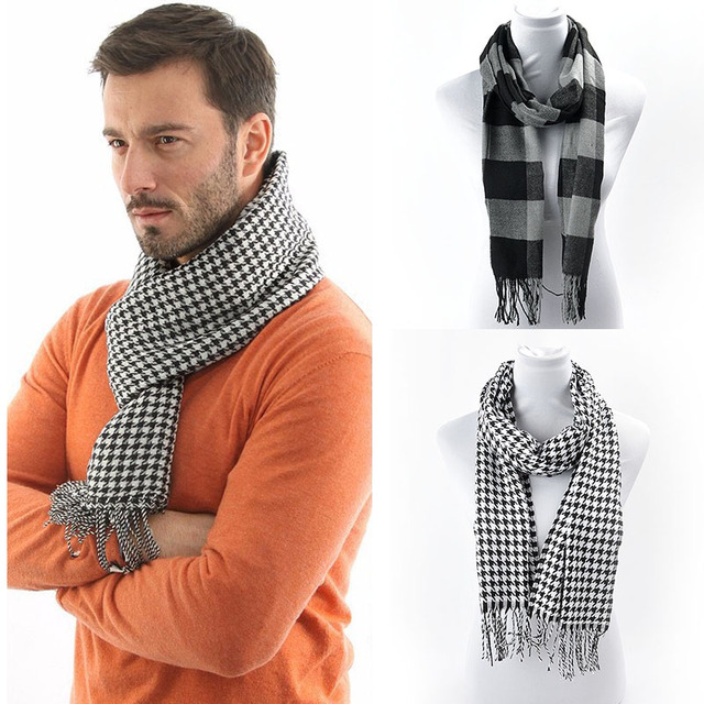 Nuevos hombres de invierno bufanda caliente masculina pashminas ...