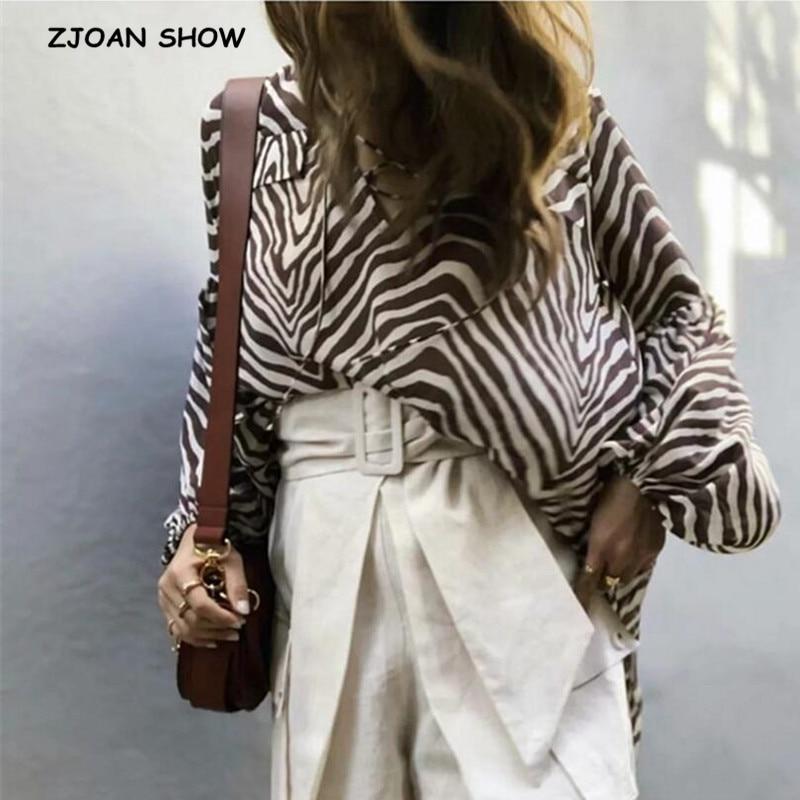 2020 Fashion Loose Lacing Up V Neck Zebra Striped Shirt Vintage Women Long Lantern Sleeve Pullover Blouse Hi-Lo Hem Chiffon Tops