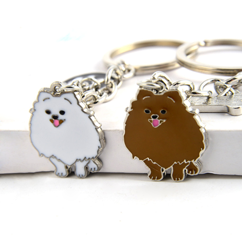 Pomeranian Dog Pendant Key Chains For Women Girls Men Silver Color Alloy Pet Bag Charm Key Ring Male Female Car Keychain Keyring 50 years perpetual calendar keyring keychain silver alloy key ring keyfob decoration 8ou9