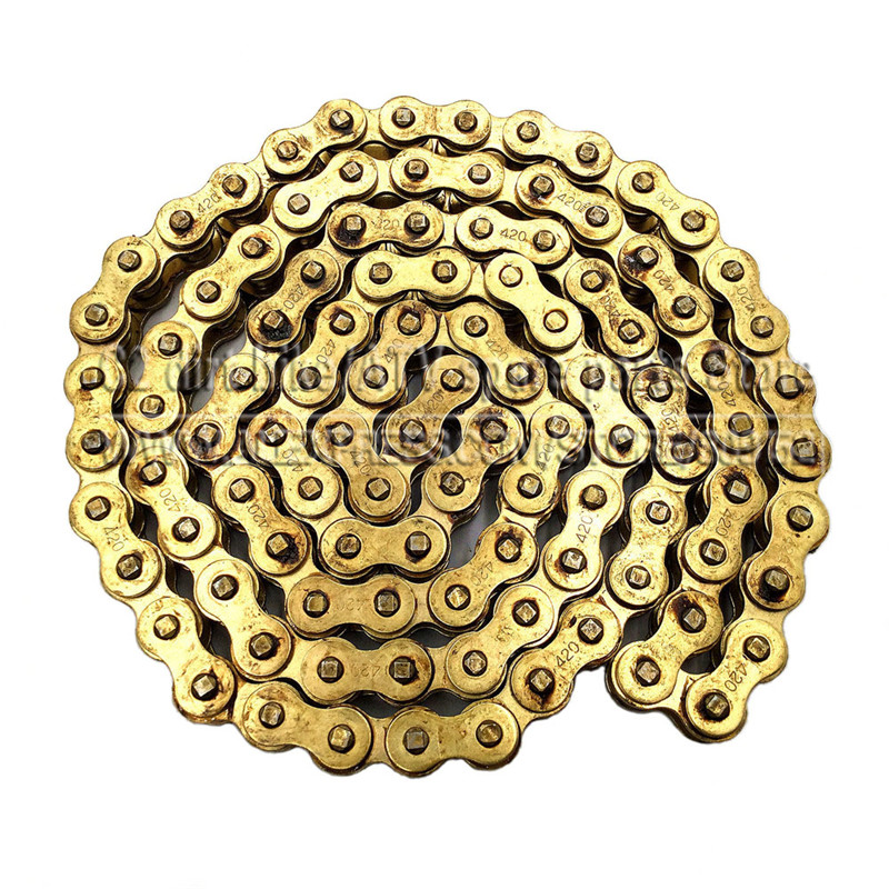 Gold 420 Chain 104 Links For Chinese 110cc 125cc Engine Pit Dirt Motor Trail Bike ATV Quad 4 Wheeler Motorcycle 110cc 125cc 140cc aluminum chain tensioner adjuster dirt bike pit atv motorcycle scooter 12mm or 15mm rear wheel axle hole